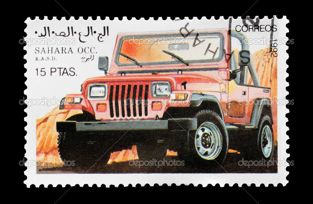Mail stamp printed in Western Sahara featuring an off-road 4x4 vehicle, circa 1992 — Stock Photo #3950077