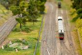 Pociąg towarowy miniaturowe — Zdjęcie stockowe