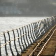 Crooked rail lines - Stock Photo