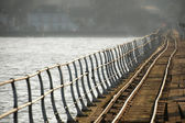 Crooked rail lines — Stock Photo