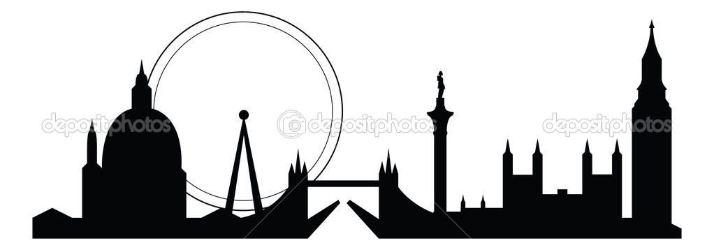Skyline silhouette of famous london city landmarks — Stock Vector #5148763