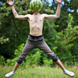 Jumping watermelon — Stock Photo