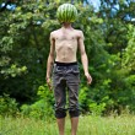 Jumping watermelon — Stock Photo