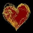 Abstract valentine's golden heart — Stock Photo