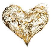 抽象的情人节金子般的心 — 图库照片