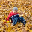 Boy played with autumn leaves — Stockfoto