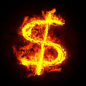 Burning dollar sign — Stock Photo