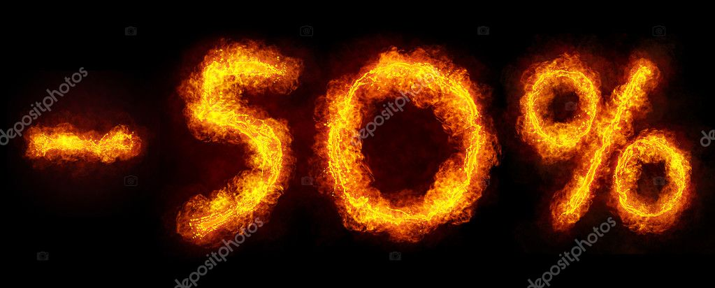 -50 percent created by fire flame on black background — Stock Photo #5162793
