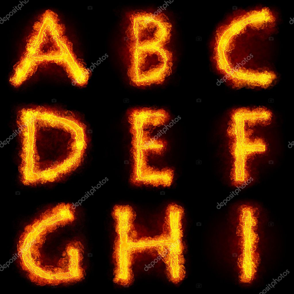 Fiery Font. Bright flamy font symbol. For writing words use Screen blending mode — Stock Photo #5163080