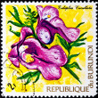 Post stamp with tropical flowers - Stock Photo