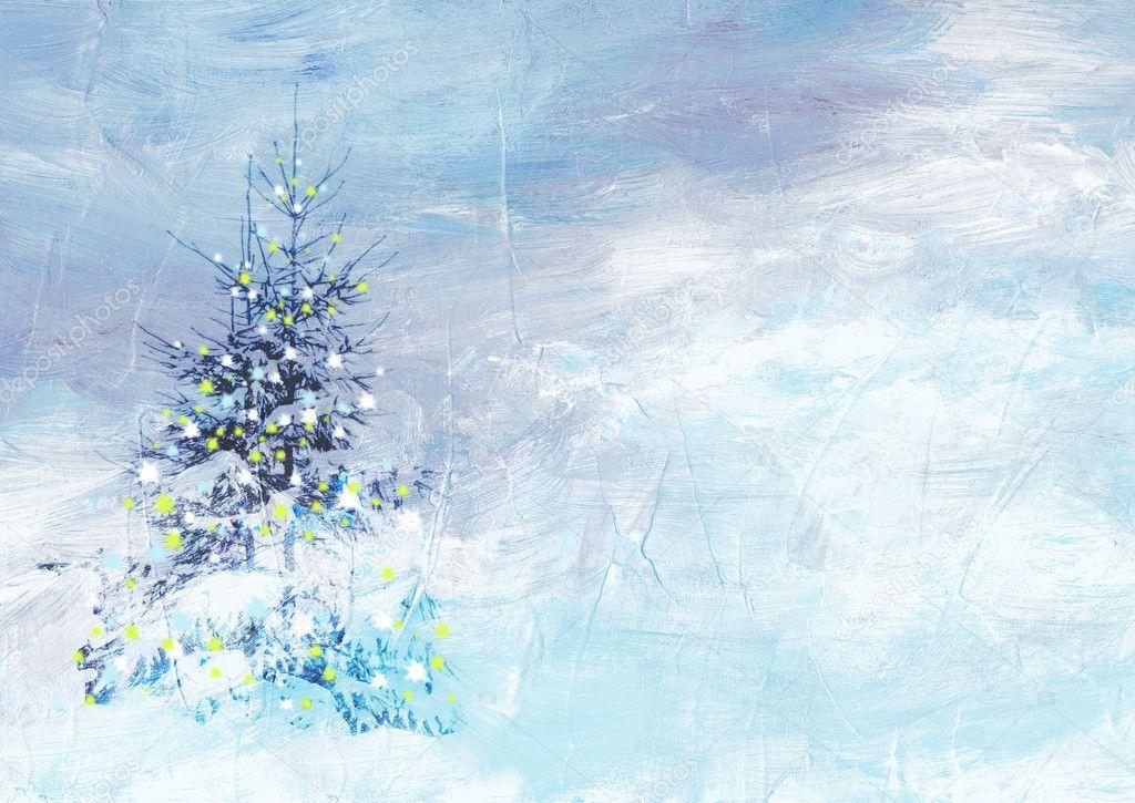 weihnachten winterlandschaft collage aus malerei und. Black Bedroom Furniture Sets. Home Design Ideas