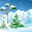 Stock Vector: Winter mountain scenery