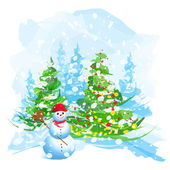 Artistic watercolor Christmas tree and snowman — Stock Vector