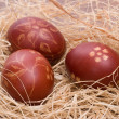 Hand painted red Easter eggs — Stock Photo