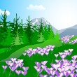 Mountain spring landscape with crocuses — Stock Vector