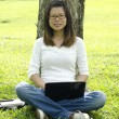Young college asian girl using laptop outdoor — Stock Photo #4678586