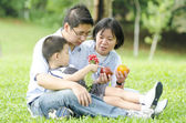Outdoor asian family portrait — Stock Photo