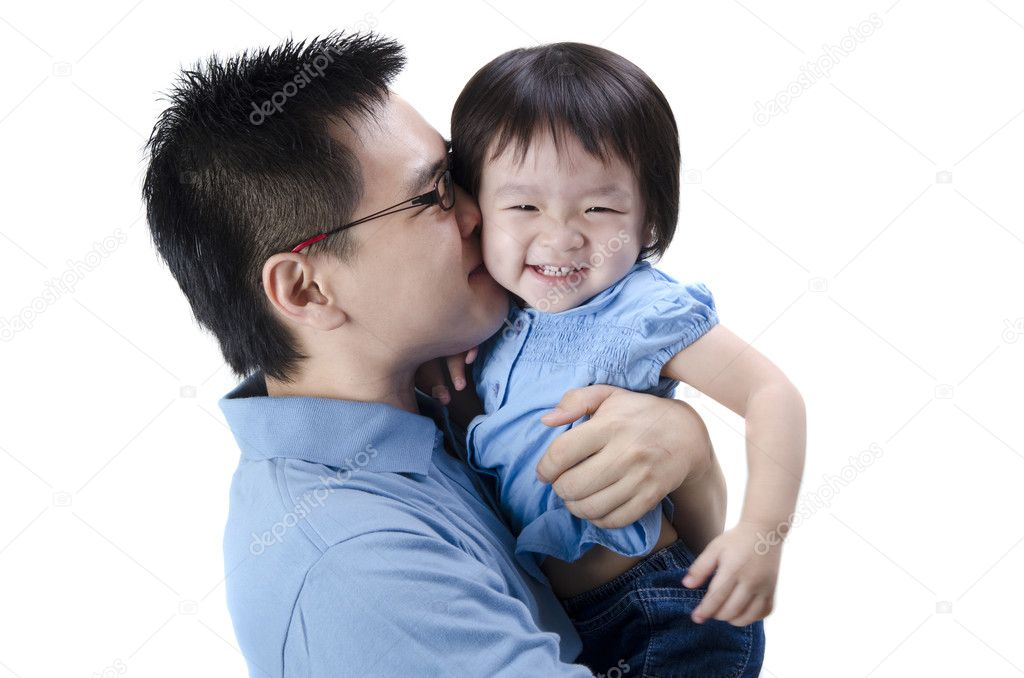 Asian father and daugther with isolated white background — Stock Photo #5255627