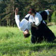 Two young man are training in Aikido in wood - Stock Photo