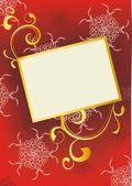 Kırmızı ve altın süslü arka plan — Stok fotoğraf