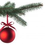Christmas ball with curly ribbon on christmas tree — Stock Photo #3952817