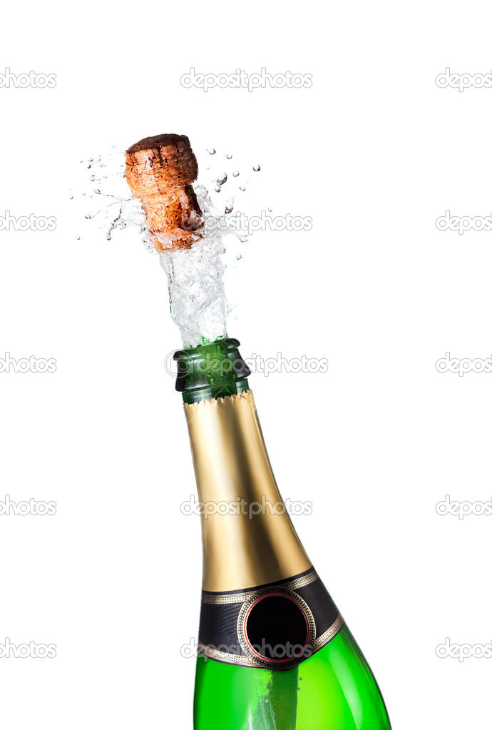 Close-up of explosion of champagne bottle cork — Stock Photo #4417612