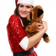 Santa's helper with teddy bear — Stock Photo
