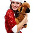 Stock Photo: Santa's helper with teddy bear