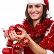 Santa girl with Christmas balls - Stok fotoraf