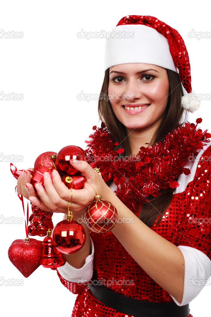 Portrait of Santa girl with Christmas red balls, isolated on white — Stock Photo #4068241
