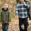 Father and son taking a walk outdoor — Stock Photo #4197028