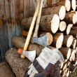 Axe, protective gloves and stack of logs — Stock Photo