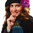 Woman with winter coat and hat, isolated — Stock Photo