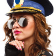 Sexy police officer woman with sunglasses — Stock Photo #4330599
