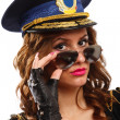 Stockfoto: Sexy police officer woman with sunglasses