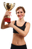 Young lady with gold cup — Stock Photo