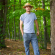 Young farmer with hat outdoor — Stock Photo