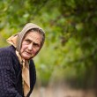 Expressive old woman outdoor — Stock Photo #4387452