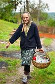 Venkovské ženy s koš venkovní — Stock fotografie