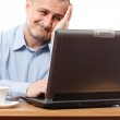 Stressed businessman at computer — Stock Photo #4424299