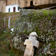Ancient cross near Corbii De Piatra, Romania - Stock Photo