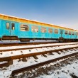 Railway in the winter - Stock Photo