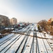 Railway in the winter - 图库照片