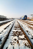 Railway in the winter — Stock Photo