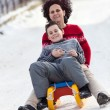 Family speeding on a sledge — Stock fotografie #4880252