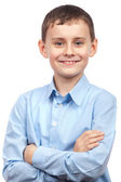 Schoolboy isolated on white — Stock Photo