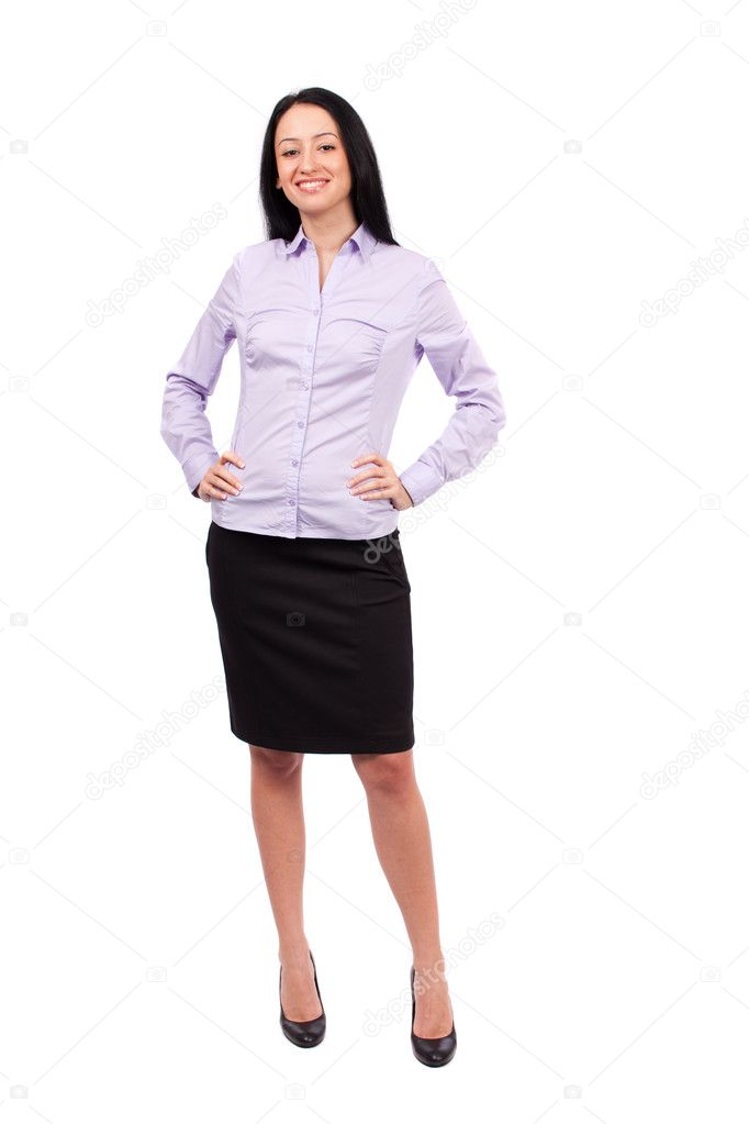 Full body shot of an attractive hispanic businesswoman isolated on white background  Stock Photo #5051961