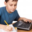 Schoolboy at the laptop — Stock Photo #5132239