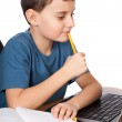 Schoolboy at the laptop — Stock Photo #5132248