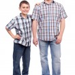 Father and son isolated on white — Foto de Stock
